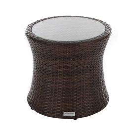 image-Rattan Garden Tall Round Side Table in Brown - Rattan Direct