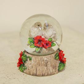 image-Hand Painted Pair Of Robins Snow Globe