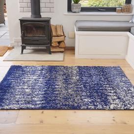 image-Navy Distressed Textured Shaggy Rug - Florence