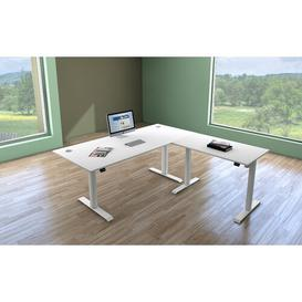 image-Greg Extension L-Shape Height Adjustable Standing Desk Symple Stuff Top Colour: White