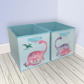 image-Dinosaur Twin Pack Storage Boxes Pink, Purple and Green