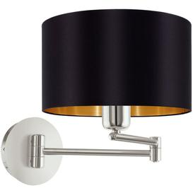 image-Eglo 95054 Maserlo One Light Wall Light In Satin Nickel With Black And Gold Shade