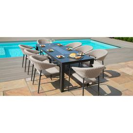 image-Maze Lounge Outdoor Pebble Taupe Fabric 8 Seat Rectangular Dining Set with Fire Pit Table