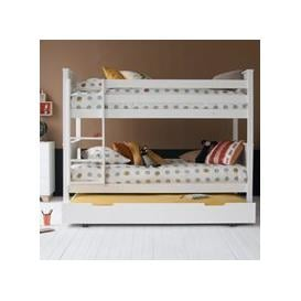 image-Classic Beech Bunk Bed with Trundle Drawer - Dove Grey