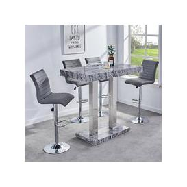 image-Melange Gloss Marble Effect Bar Table And 4 Ripple Grey Stools