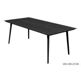 image-Ukee Rectangular Aluminum Dining Table Sol 72 Outdoor Colour: Dark Grey
