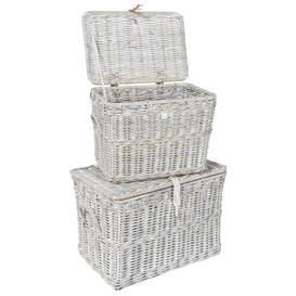 image-Rowico Maya Rattan Double Log Basket - White Wash