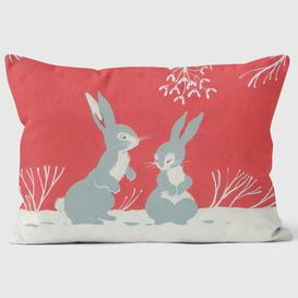 image-Two Rabbit Under the Mistletoe Christmas Cushion We Love Cushions
