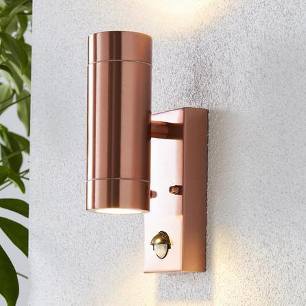 image-Billy PIR Sensor Copper Outdoor Wall Light Copper