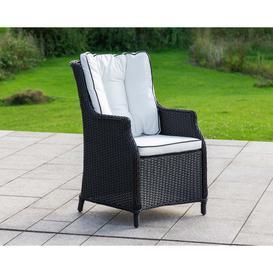 image-Rattan Garden Dining Chair in Black &amp White - Riviera - Rattan Direct