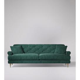 image-Swoon Sidbury Three-Seater Sofa in Emerald Cord With Light Feet