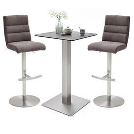image-Soho Glass Bar Table With 2 Hiulia Brown Fabric Stools