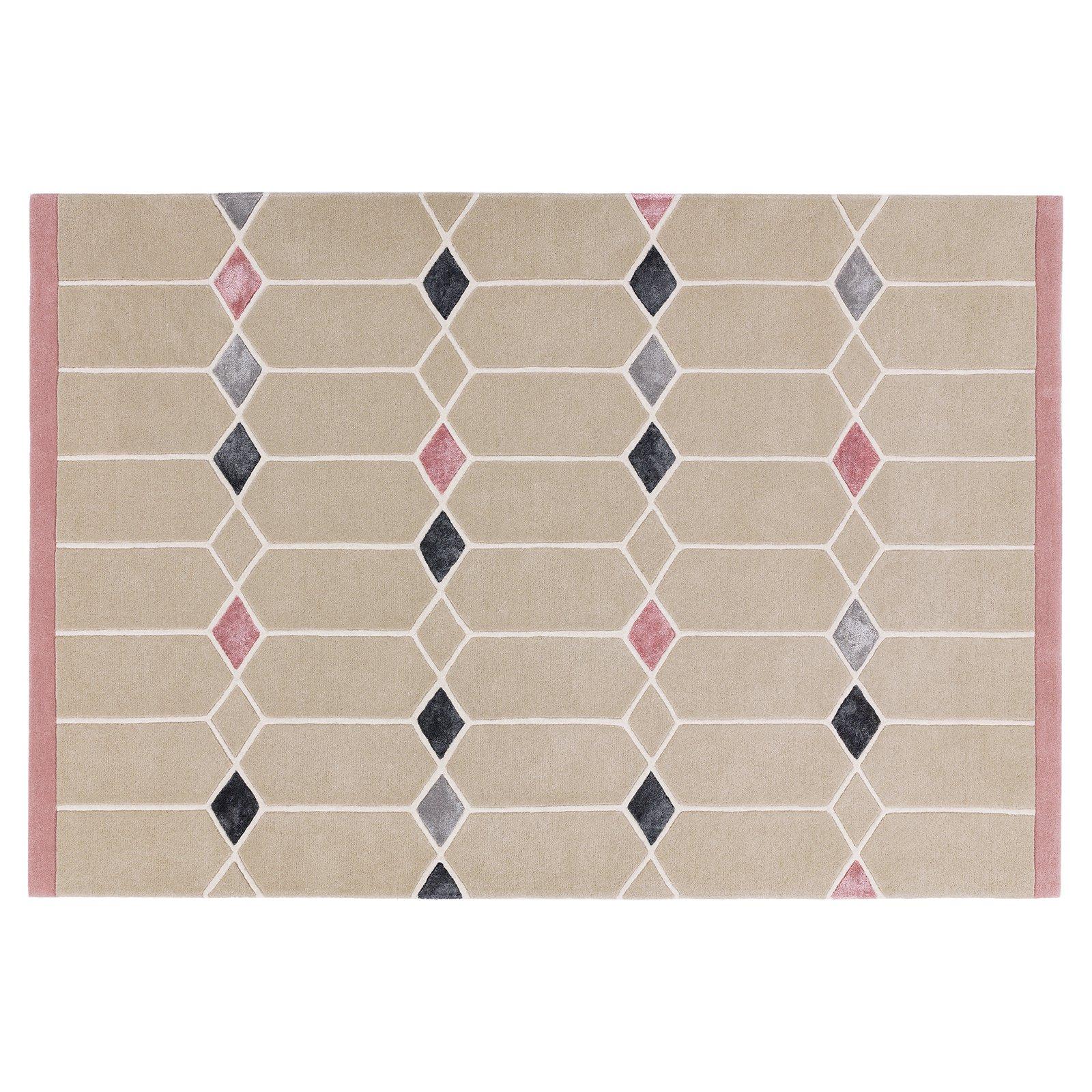 image-Scandi Wool Rug, 120x170 cm, Pink