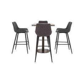 image-Moon Bar Table and 4 Rocket Bar Stools - Grey
