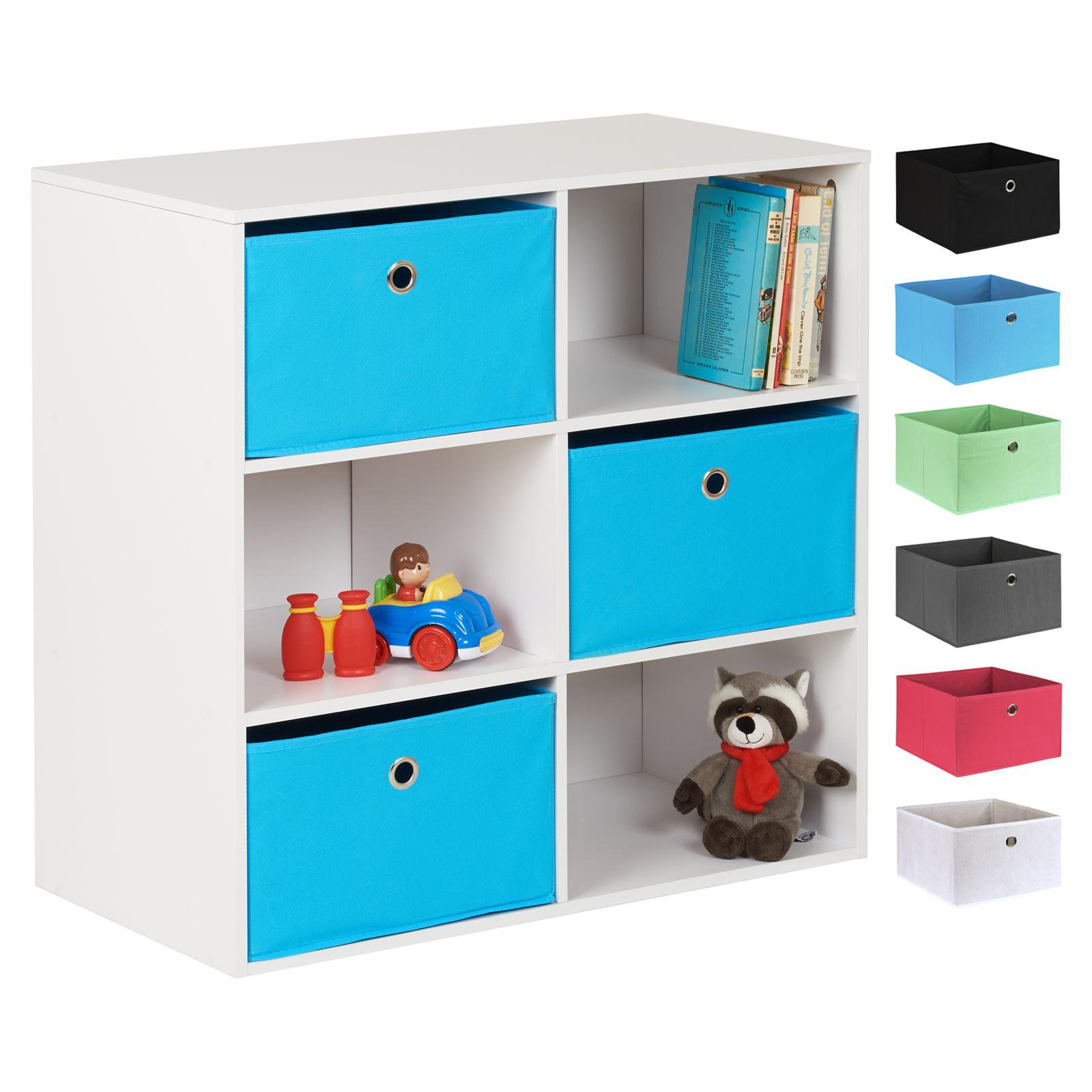 image-Hartleys White 6 Cube Kids Storage Unit & 3 Easy Grasp Box Drawers - Blue