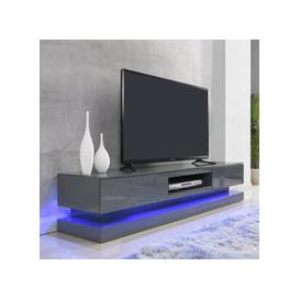 image-Step High Gloss TV Cabinet In Grey With Multi LED Lights