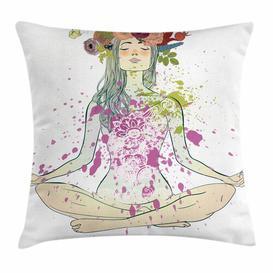 image-Shamas Yoga Girl Floral Wreath Lotus Outdoor Cushion Cover Ebern Designs Size: 60cm H x 60cm W