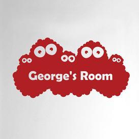image-Personalised Monster Kids Door Room Wall Sticker Happy Larry Colour: Dark Red