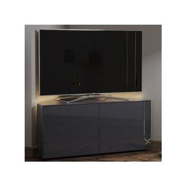 image-Intel Corner LED TV Stand In Grey Gloss With Wireless Charging