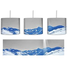 image-Wide White Mountain Landscape in the Winter 1 Light Drum Pendant East Urban Home Shade colour: Grey/Blue