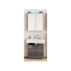 image-Amanda LED Bathroom Mirror And Vanity In Grey High Gloss