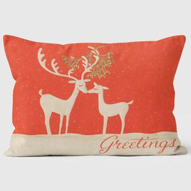 image-Christmas Card Reindeer Kissing Under Mistletoe Cushion We Love Cushions