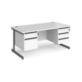 image-Value Line Classic+ Rectangular C-Leg Desk 2+3 Drawers (Graphite Leg), 180wx80dx73h (cm), White, Free Next Day Delivery