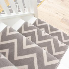 image-Grey Chevron Stair Carpet Runner - Cut to Measure