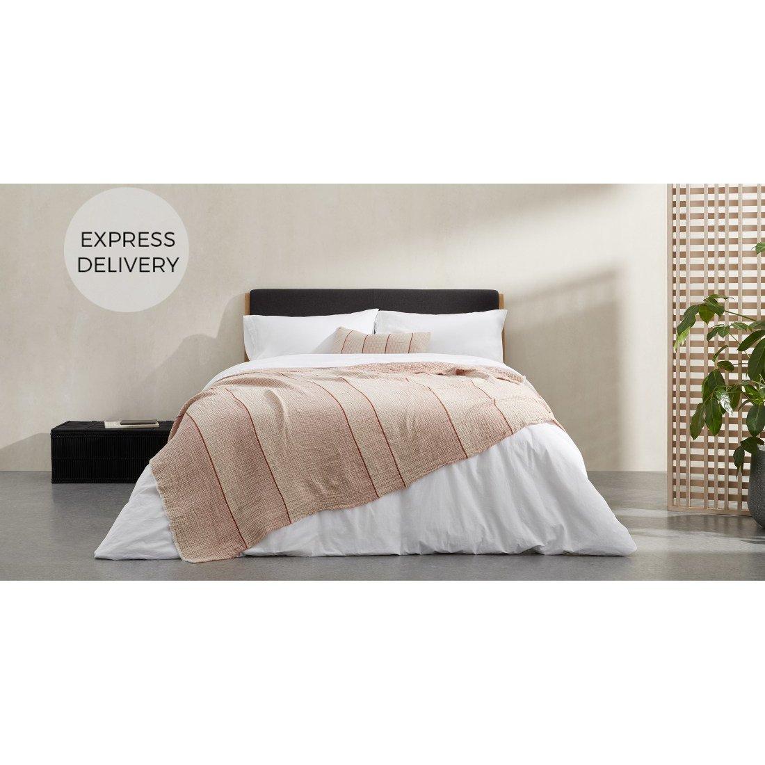 image-Tallis Organic Cotton Bed Throw 150 x 200cm, Terracotta