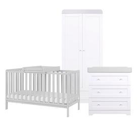 image-Malmo Cot Bed 4-Piece Nursery Furniture Set Tutti Bambini Colour: Dove Grey/White/Dove Grey