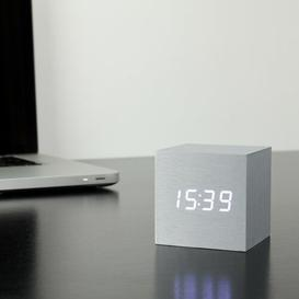 image-Modern Digital Wood Electric Alarm Tabletop Clock Symple Stuff Finish: Aluminium/White