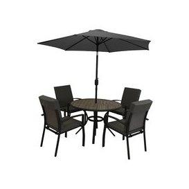 image-LG Outdoor Turin Aluminium 4 Seat Garden Furniture Set with Parasol