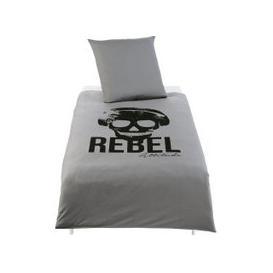 image-Children's Grey Cotton Bedding Set with Black Print 140x200