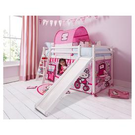image-Cabin Bed Thor Midsleeper in White with Slide & Hello Kitty Tent F