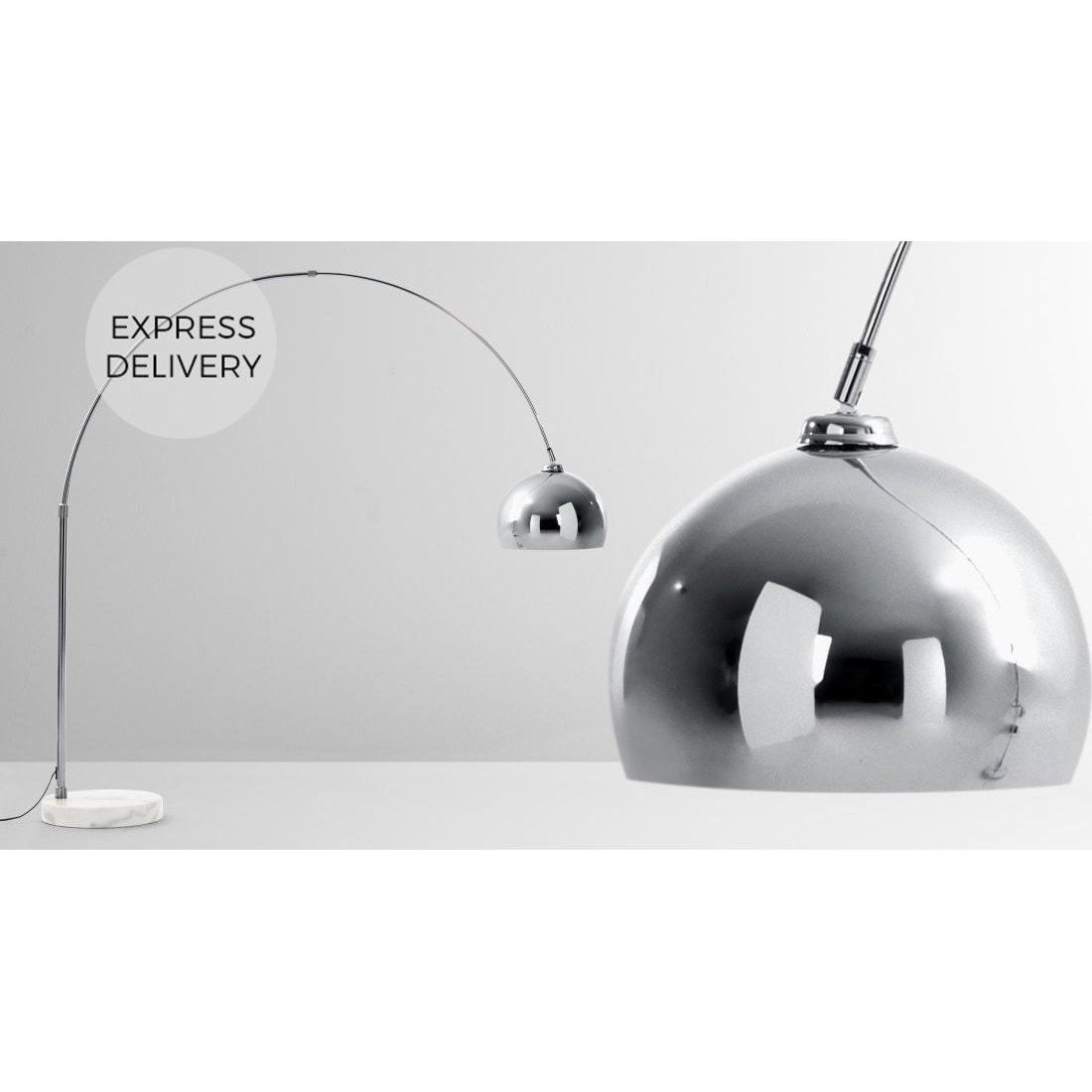 image-Bow Large Arc Overreach Floor Lamp, Chrome and White Marble