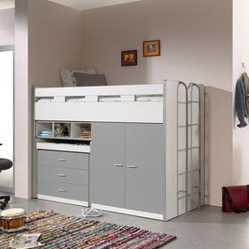 image-Briggs High Sleeper Bed with Drawers and Desk Isabelle & Max Colour (Bed Frame): Grey/Brown/Blue