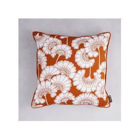 image-Florence Broadhurst Japanese Floral Cotton Cushion (colour: Burnt Orange, size: 50x50cm)