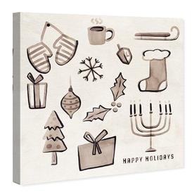 image-'Holiday Doodles Christmas' - Graphic Art Print on Canvas East Urban Home Size: 61cm H x 61cm W x 3.8cm D