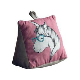 image-Unicorn Doorstop Pink, Blue and White
