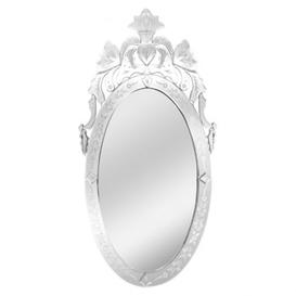 image-Venetians Oval Wall Bedroom Mirror In Silver Frame