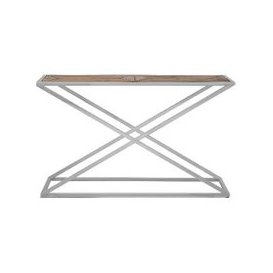 image-Oliver Wooden Console Table With Stainless Steel Base
