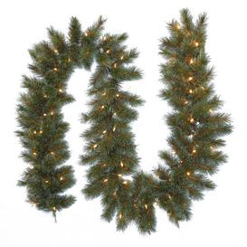 image-9ft Frosted Ontario Pine Garland Green