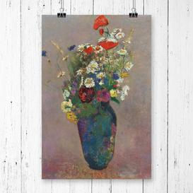 image-'Vase of Flowers' by Odilon Redon Painting Print Astoria Grand Size: 84.1cm H x 33.1cm W