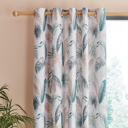 image-Palm Leaf Teal Eyelet Curtains White, Blue and Pink