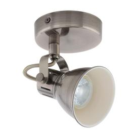 image-Eglo 96552 Seras 1 Light Wall Spotlight In Antique Nickel And Creme