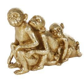 image-Gold monkey family statue H40cm