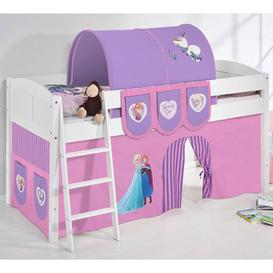 image-Hilla Children Bed In White With Frozen Purple Curtains