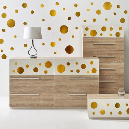 image-Gold Metallic Dots Wall Stickers Gold