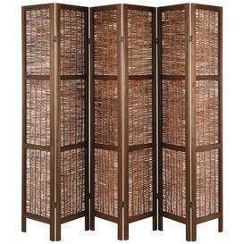 image-Hartleys Wooden Framed Folding Wicker Room Divider - Brown - 6 Panel