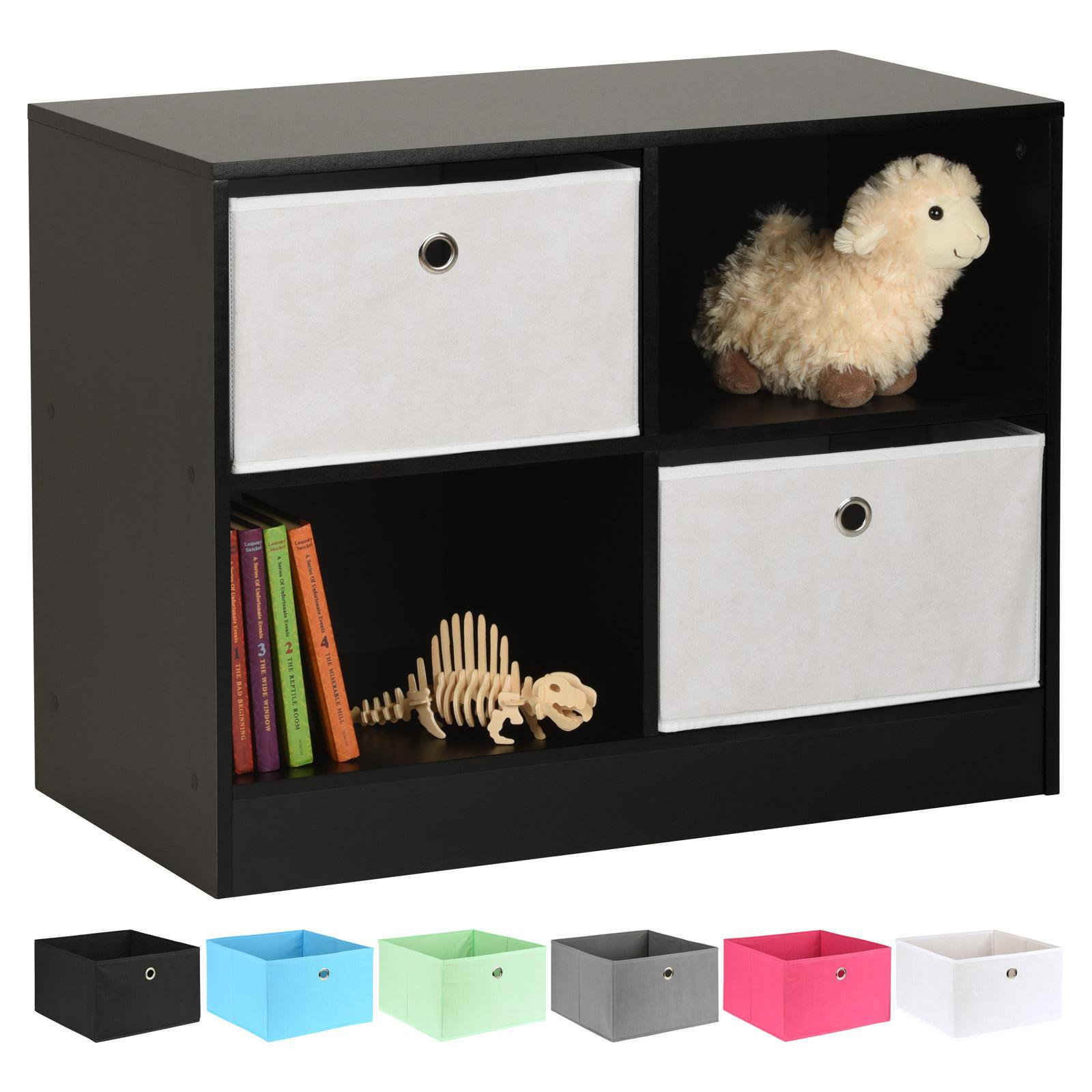image-Hartleys Black 4 Cube Kids Storage Unit & 2 Easy Grasp Box Drawers - White
